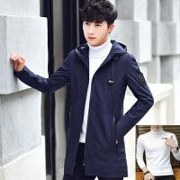 男士外套韩版潮流2018秋冬季加绒加厚夹克上衣中长款冬装帅气风衣