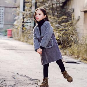 女童外套女中长款上衣2017秋冬新款韩版童装儿童大衣冬装圆领潮