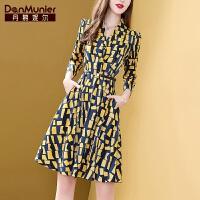 丹慕妮尔初秋装2019年新款女连衣裙收腰显瘦气质时尚流行洋气裙子