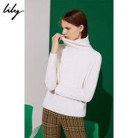 【5/26-6/1 2件2折价:139.8元】 Lily春新款女装全羊毛多色高领毛衣直筒毛针织衫118410B8778