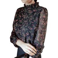 洋气小衫女2018新款秋冬季加绒加厚打底衫碎花雪纺衬衫长袖遮肚子