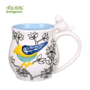 爱屋格林马克杯陶瓷手绘浮雕水杯咖啡杯办公室个性卡通杯子家用