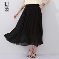初语夏季新品雪纺半身裙女 纯色超大A字裙摆半裙女8621716806