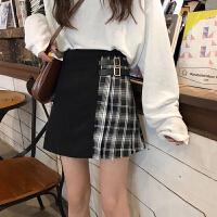 格子半身裙女春季2019新款韩版显瘦高腰百褶裙撞色A字裙短裙学生