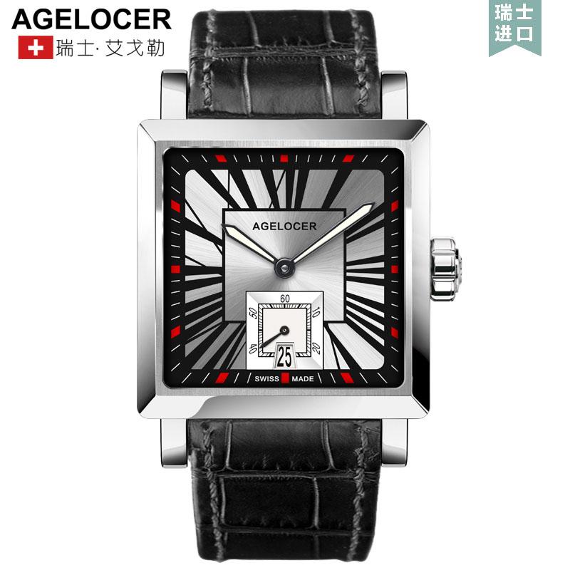 Agelocer艾戈勒时尚男士全自动机械表方形男表皮带真皮手表男 支持七天无理由退换货,零风险购