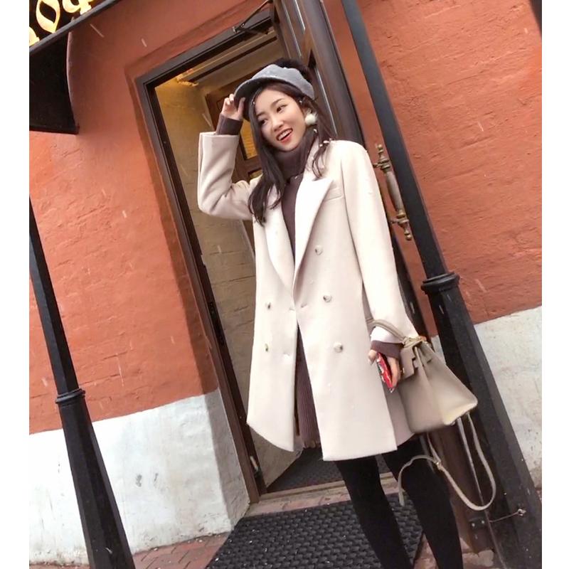 谜秀 原宿毛呢外套女中长款2017秋冬装新款韩国修身呢子大衣外套