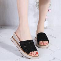 坡跟凉拖鞋女外穿夏季新款真皮高跟鞋一字型防水台厚底女鞋子