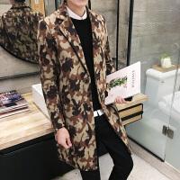 17秋冬男式潮流西装领迷彩印花中长款毛呢大衣韩版修身青年外衣套