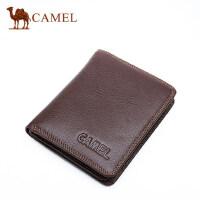 Camel骆驼牛皮短款钱包韩版青年男士真皮钱夹商务休闲竖款皮夹男