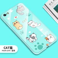 苹果6splus手机壳玻璃镜面女款韩国潮牌苹果6s手机壳小清新全包边 4.7寸)苹果6-cat蓝-玻璃