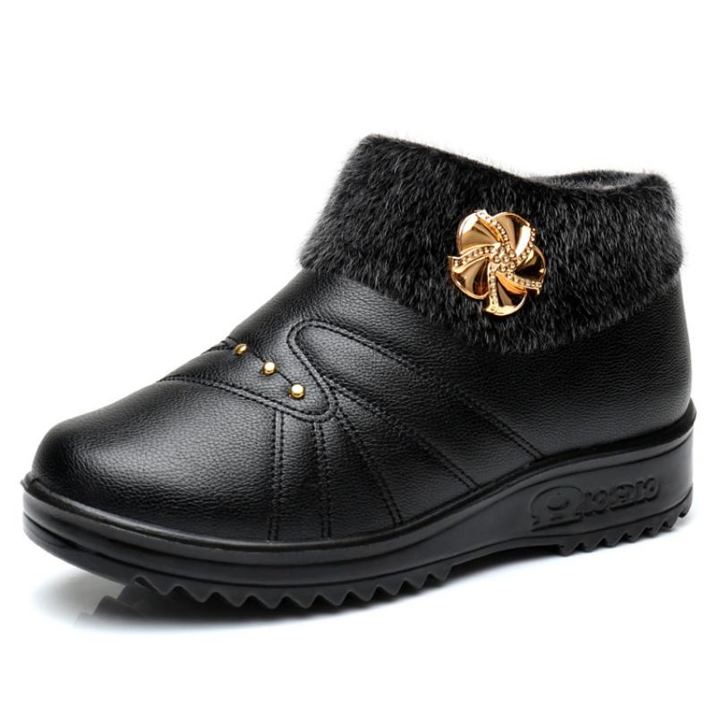 冬季老北京布鞋女鞋高帮防滑保暖棉鞋女老年人棉靴厚底防水妈妈鞋