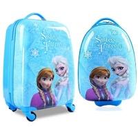 儿童拉杆箱女可爱卡通行李箱女孩皮箱公主旅行登机箱小孩万向轮18 蓝色 冰雪奇缘