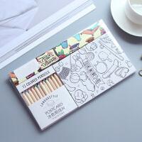 明信片 空白水彩纸手绘定制风景盒装套装卡片纸卡通情人节送女友礼物 涂鸦贺卡(2套装)