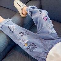女童牛仔裤破洞小女孩宽松乞丐裤子儿童装夏季七分裤长裤