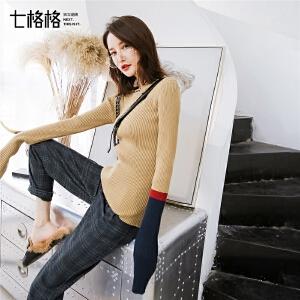七格格中长款打底衫套头毛衣早秋装女新款韩版修身长袖针织衫