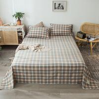 水洗棉床单单件全棉日式格子被单纯棉学生宿舍1.5m1.8米床罩ins风
