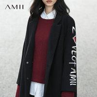 【开学季 预估券后价:822元】Amii[极简主义]赫本复古呢子羊毛2018秋冬新毛呢外套绣花大衣