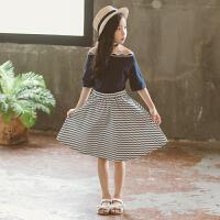 女童夏装裙子2018新款时髦套装洋气中大儿童短袖8两件套9夏季11岁 蓝色