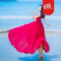 原创夏装红色收腰系带雪纺大摆飘逸连衣裙波西米亚海岛度假沙滩裙长裙GH04 红色