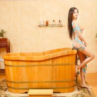 泡澡桶 木质洗浴熏蒸浴缸木盆洗澡盆木桶浴桶带盖大人洗澡桶 天圆地