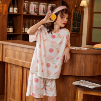 都市丽人可爱少女水蜜桃小清新甜美印花短袖薄款套装女士家居服睡衣女夏ZH2001