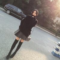 小清新软妹2018秋冬季新款女装毛衣搭配短裙两件套装裙打底连衣裙 黑色毛衣+灰色短裙 M