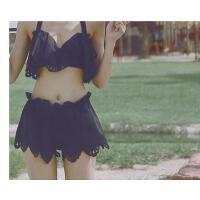 温泉泳衣女比基尼裙式分体小香风泳装大小胸钢托聚拢显瘦三件套可礼品卡支付