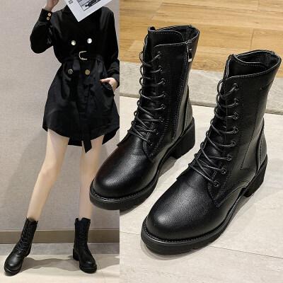 靴子女2019秋款韩版粗跟中跟机车马丁靴女英伦风时尚复古短靴女潮 黑色