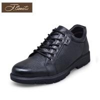 宾度男鞋秋季男士商务休闲鞋厚底耐磨防滑青年皮鞋英伦男士鞋子男
