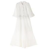 原创文艺复古盘扣中国风连衣裙两件套2018春装新款改良汉服禅茶套装GH012 白色