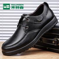木林森男鞋 秋季男士商务休闲皮鞋 时尚低帮系带男皮鞋770053114
