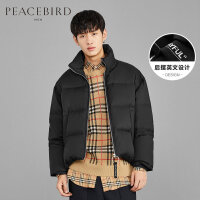 太平鸟男装 防风立领短款羽绒服男个性拉链男士外套后摆撞色设计