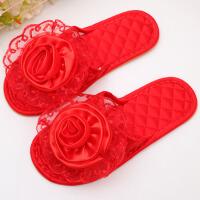 情侣拖鞋结婚红色婚庆用品喜庆防滑软牛筋底室内家居地板托鞋女夏