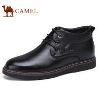 camel 骆驼男鞋秋冬新品保暖商务靴加绒靴子男士毛靴高帮皮鞋