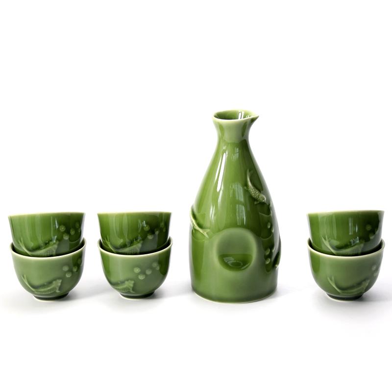 乾唐轩活瓷酒具浮雕双鱼酒器1壶6杯创意陶瓷白黄清酒酒杯酒壶礼品