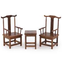 明清微缩家具模型鸡翅木官帽椅微型小家具红木雕刻工艺品摆件