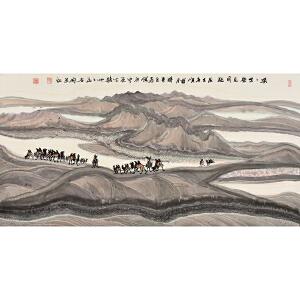 中国美术家协会会员 李宏泰《漠漠戈壁见明驼》gx0041