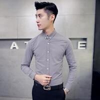 韩版男士修身长袖衬衫美发师理发店发廊KTV酒吧麻料工作服衬衣潮
