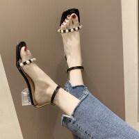 凉鞋2019新款夏季珍珠粗跟高跟鞋凉鞋女露趾时尚气质凉鞋女仙女风
