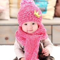 货到付款 Yinbeler皇冠婴儿帽毛线帽潮男童女童6-12个月2-3-4-6岁秋冬婴儿童护耳帽子围巾套装