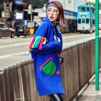 玛玛绨2017冬装新款彩色个性羊毛外套女翻领撞色毛呢外套保暖大衣
