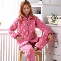 法兰绒冬季珊瑚绒夹棉睡衣女三层加厚加绒保暖棉袄甜美家居服套装