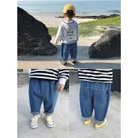 儿童秋装1-3岁男童牛仔裤长裤宝宝宽松休闲裤子