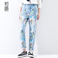 初语 春季新品  手绘涂鸦笔迹牛仔裤8611815014C