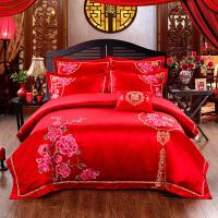 绣花婚庆四件套大红结婚床上用品六件套婚床被套件刺绣新婚庆床品