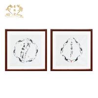 名家纯手绘国画客厅装饰画新中式餐厅玄关挂画六和大顺一团和气 裱框后长85cm高85cm 名家手绘真迹,顺丰包