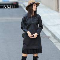 【AMII 超级品牌日】AMII[极简主义]冬新女时尚肌理拼接拉链百褶摆连衣裙11673680