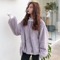 秋冬女装韩版宽松加绒加厚螺纹拼接套头毛绒卫衣上衣外套+小包包 紫色 均码