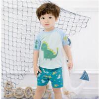 新款游泳衣男中泳装婴儿小熊游泳裤小童婴幼儿分体泳装儿童 可礼品卡支付