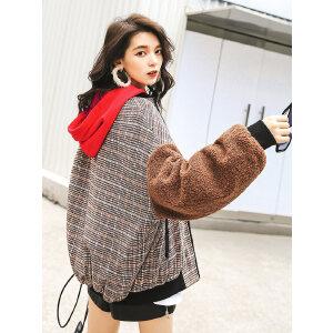 七格格仿羊羔毛外套女春秋装新款宽松百搭韩版冬季格子棒球服
